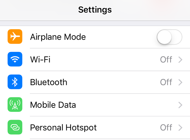 Enable and disable the WiFi and Bluetooth options