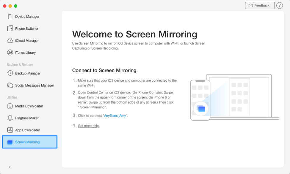 Screen Mirroring in AnyTrans for iOS