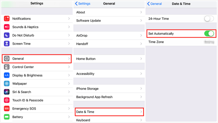 Fix iOS 12/12.1 Screen Time Not Working – Set Time & Data Automatically