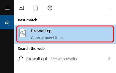 Search Firewall.cpl on Windows