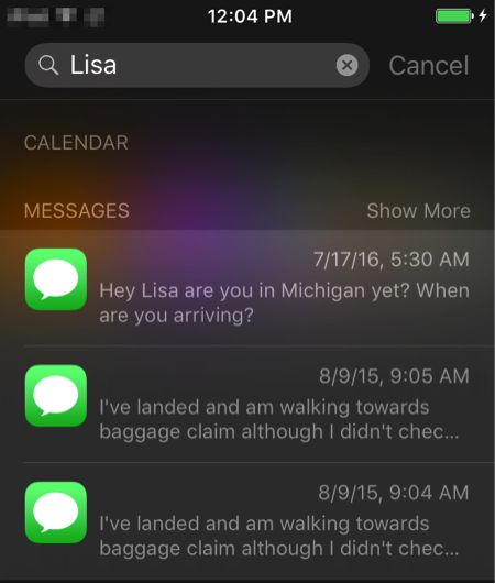 How to Search Old Messages on iPhone via Spotlight Search
