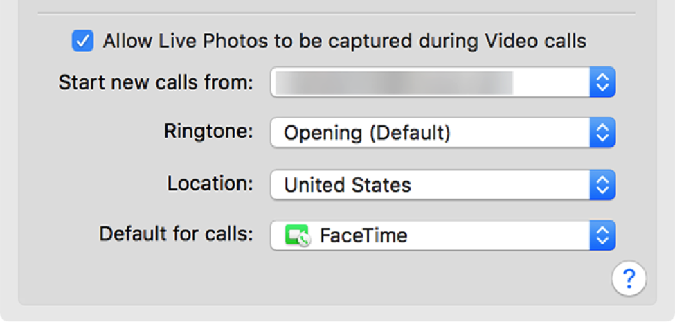 Select a Location for FaceTime