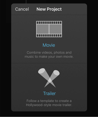 Select a Project Type in iMovie