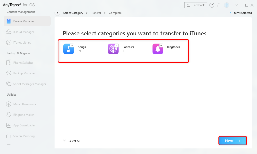 Select Categories you Want to Transfer to iTunes