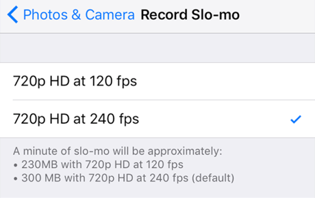 Selecting FPS for Slow Motion Videos on the iPhone