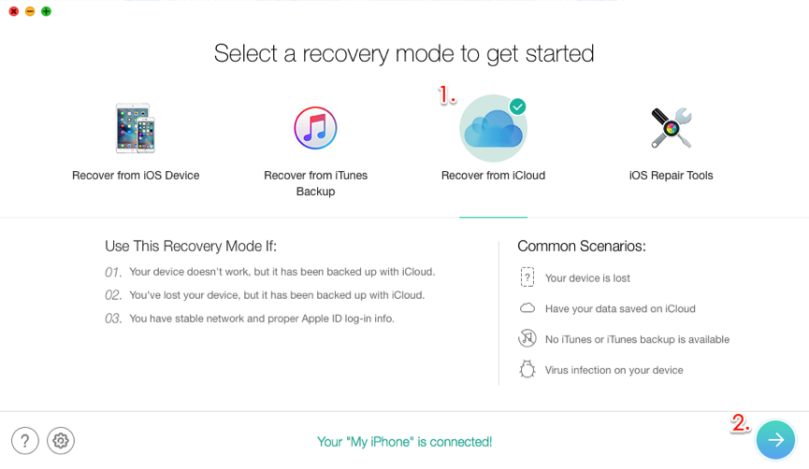 Select the Recover from iCloud in PhoneRescue for iOS
