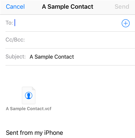 Send iPhone contacts to yourself via email