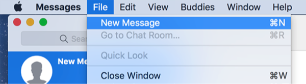 Send a new iMessage from Mac