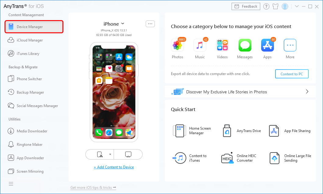Open AnyTrans and Connect iPhone to Computer