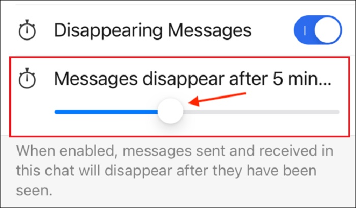 Set Time Limit for Disappearing Messages