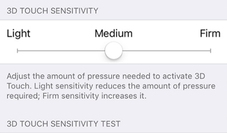 Set Touch Sensitivity for the 3D Touch Feature
