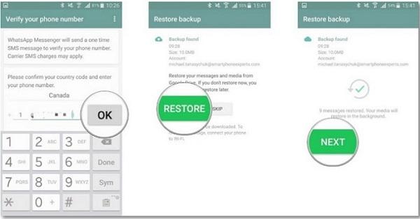 Setup WhatsApp and Restore Backup