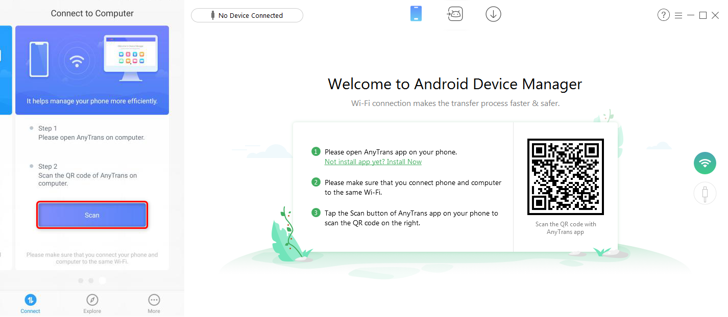 How to Share Files Over WiFi Between PC and Android via AnyDroid - Step 1