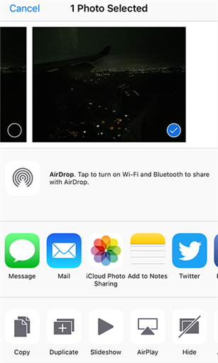 Share photos using various options on an iPhone