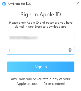 Sign in Apple ID in AnyTrans - Step 4