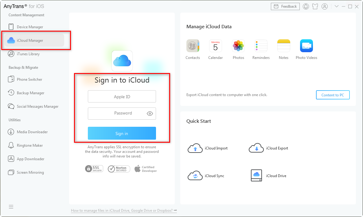 Sign in iCloud Account in AnyTrans for iOS – Step 1