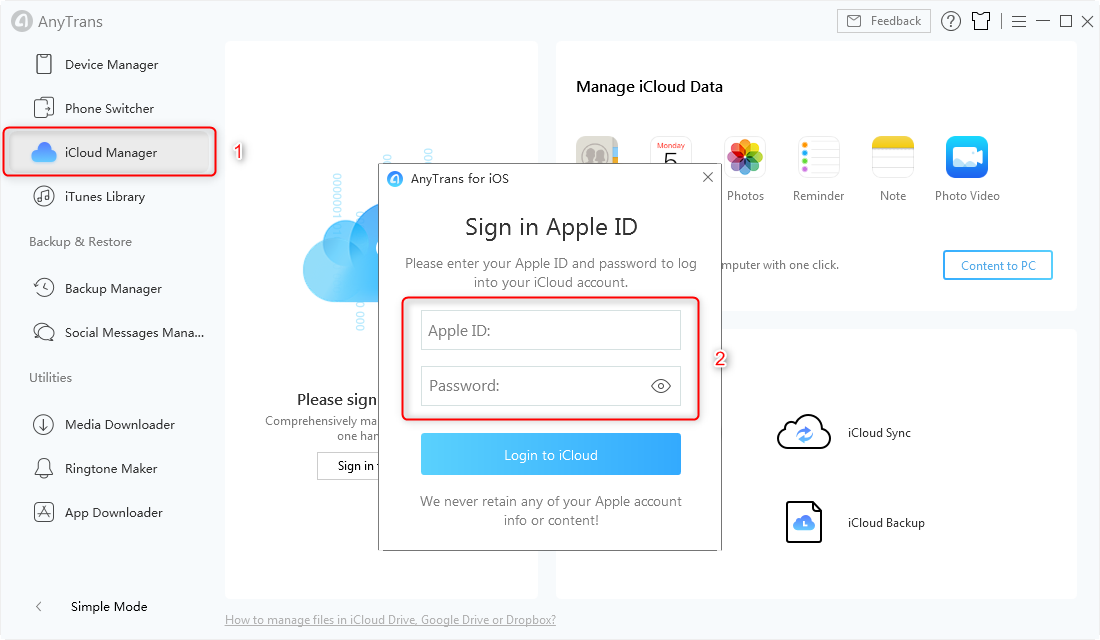 Sign in iCloud Account in AnyTrans for iOS - Step 1
