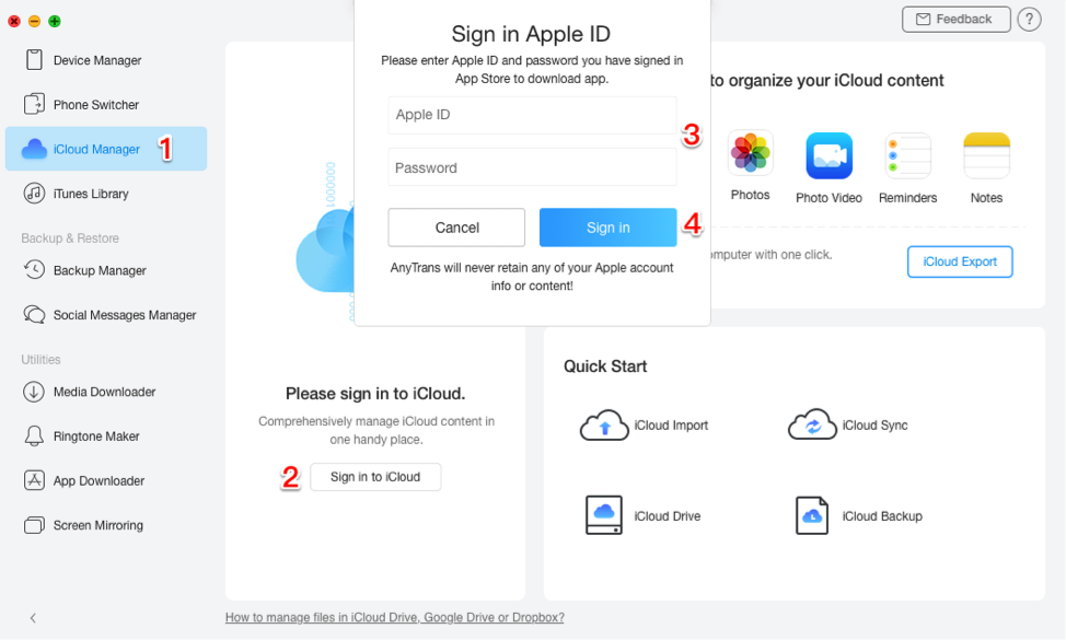 Sign in to iCloud in AnyTrans