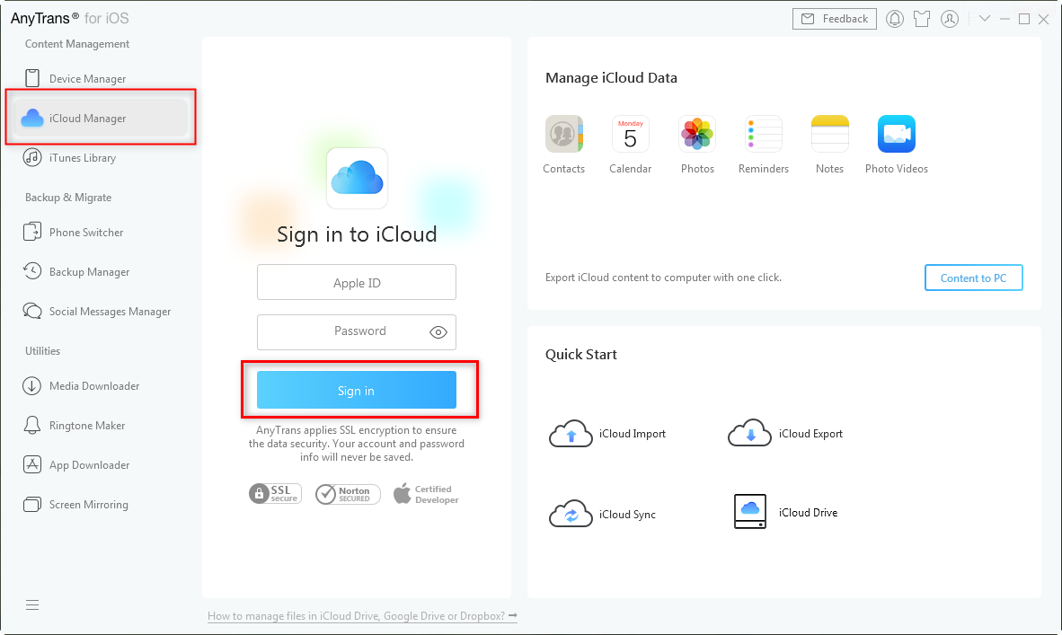 Sign in to iCloud in AnyTrans for iOS - Step 3