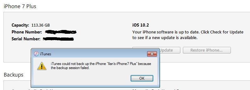 iTunes Could Not Backup the iPhone Because the Backup Session Failed