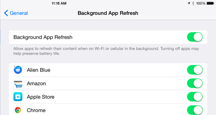 Speed up iOS 9 – Disable Background Apps Refresh