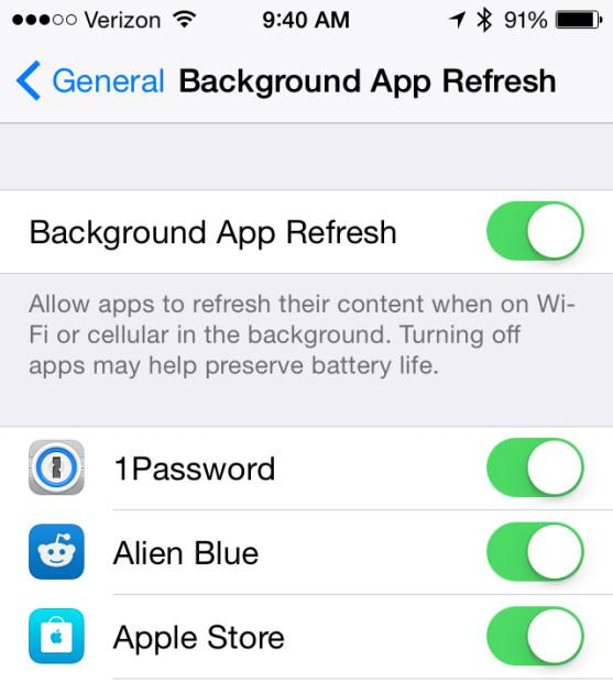 Turn off Background App Refresh on iPhone