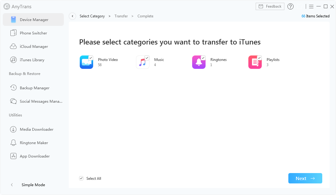 Start Transferring to iTunes in AnyTrans for iOS