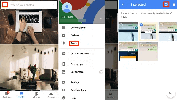 Steps of Recover Photos on Android
