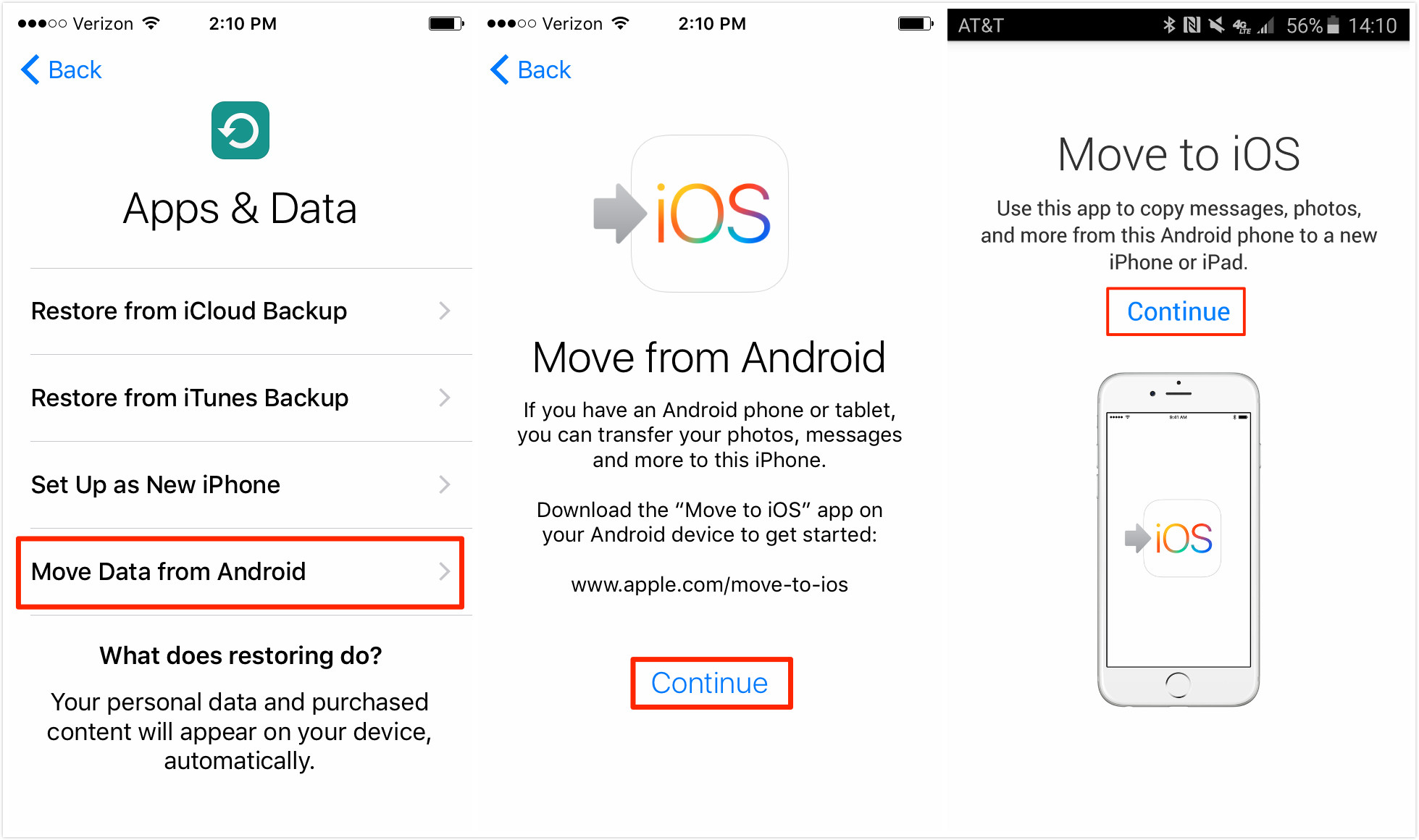 Switching from Android to iPhone via Move to iOS