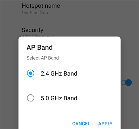 Switch the Hotspot Band