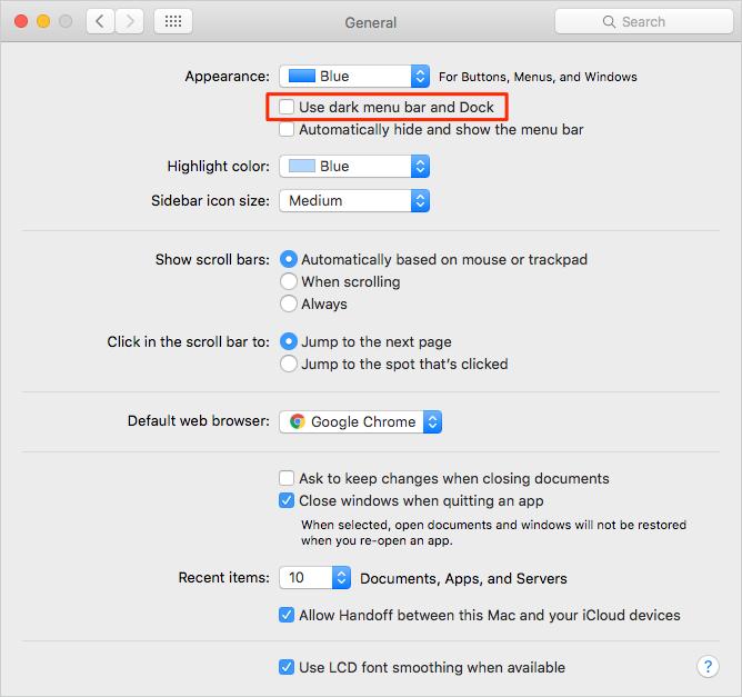 Enable Dark Mode on Mac El Capitan– Step 3