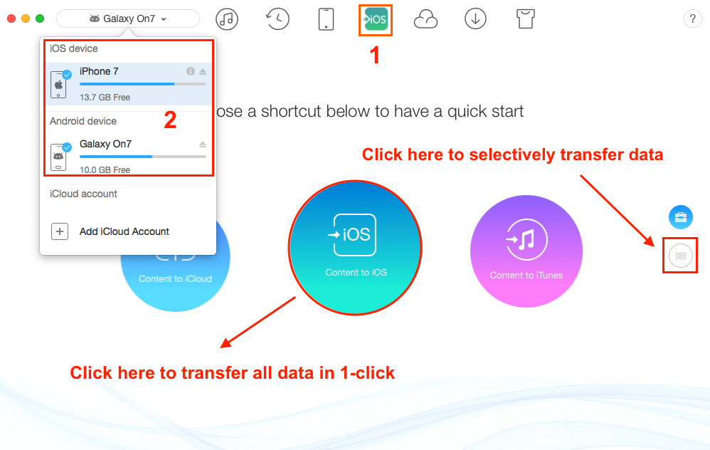 Transfer Data from Samsung to iPhone with AnyTrans - Step 1