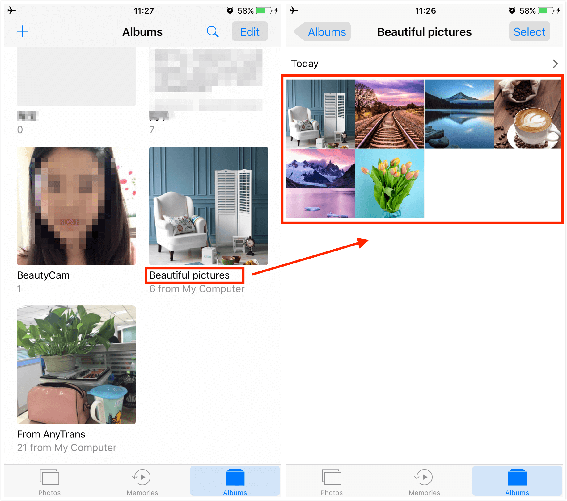Check the Transferred Photos on Your iPhone