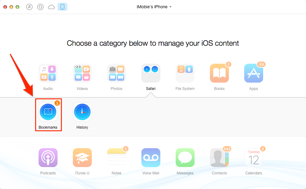 Sync Bookmarks to iPhone iPad with AnyTrans – Step 2