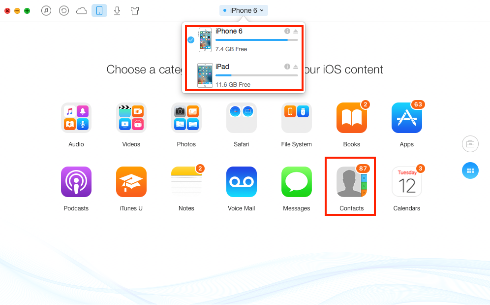 How to Copy Contacts from iPhone to iPad Air/iPad mini – Step 1