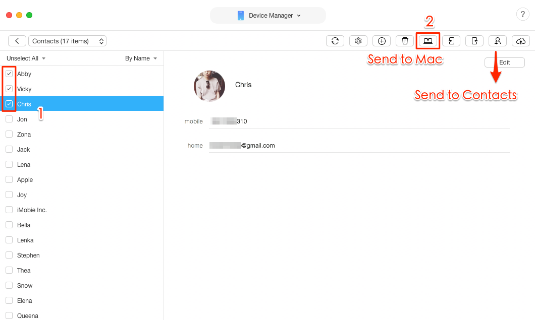 How to Transfer Contacts from iPhone to Mac – Step 3