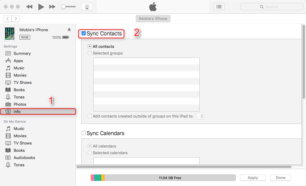 Sync Contacts from Mac to iPhone iPad with iTunes