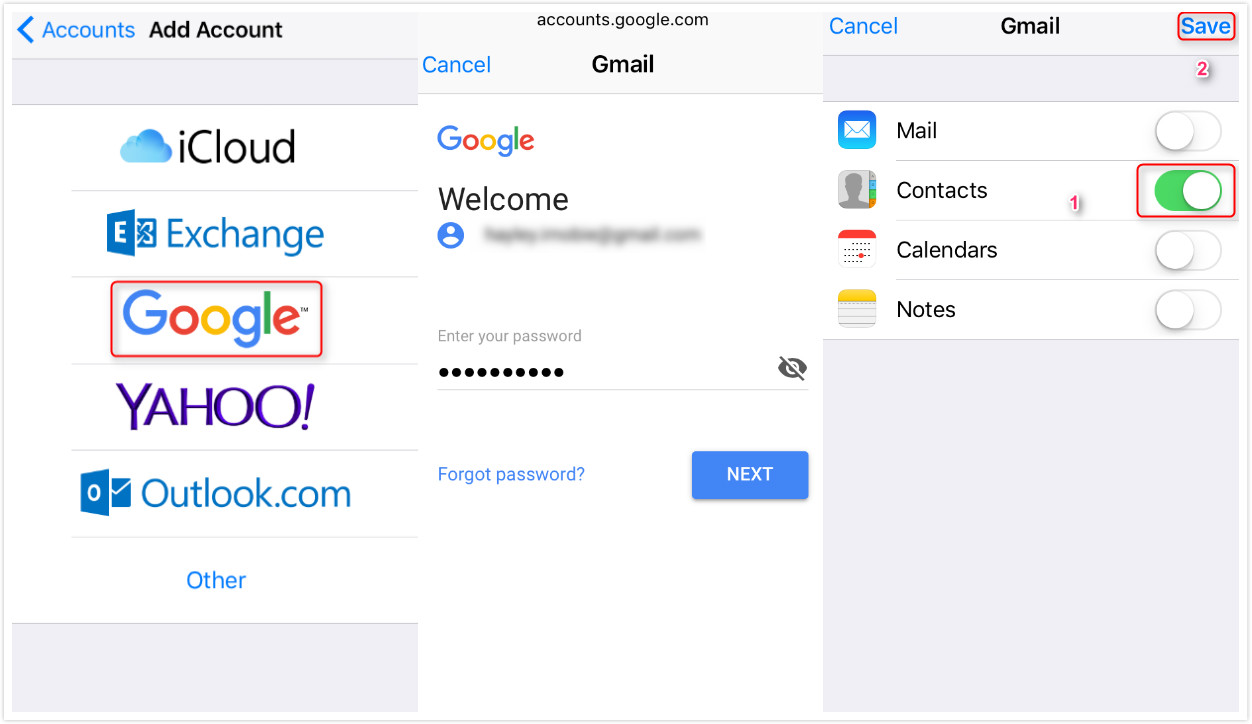 Sync Google Contacts with iCloud on iDevice - Step 2