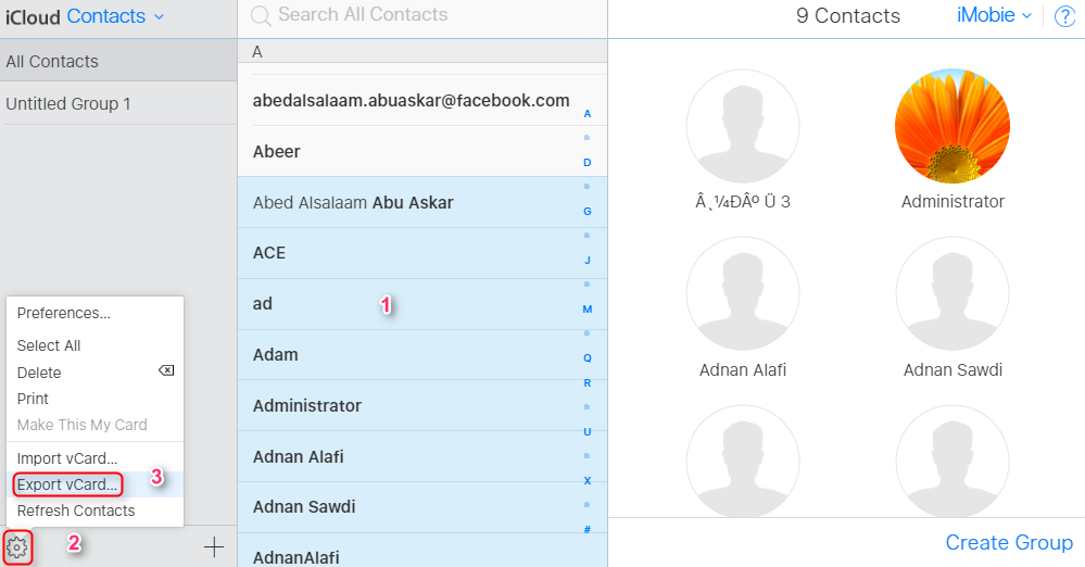 Export iCloud Contacts to Google via iCloud.com - Step 2