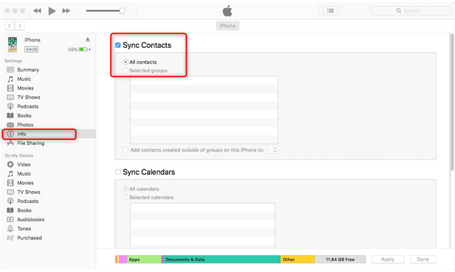 Sync iPhone Contacts to Mac with iTunes