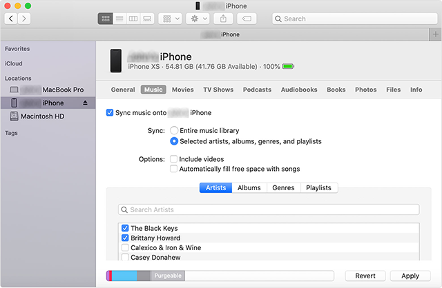 Sync the iPhone in Catalina using Finder