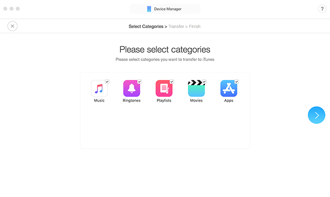 Choose the categories you want to sync