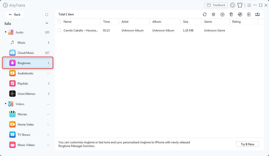 Sync Ringtones in AnyTrans for iOS
