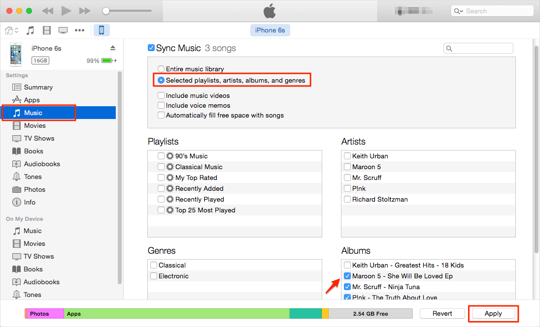Sync Selected Songs to iPhone via iTunes