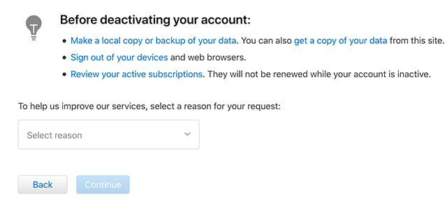 Choose the Reason of Deactivating Apple ID Account