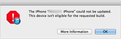 iTunes Restore Problem – Device isn't Eligible for the Requested Build