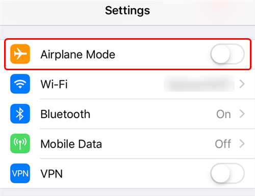 Toggle the Airplane Mode