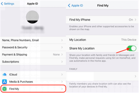 Turn off the Share My Location Feature for the Find My App