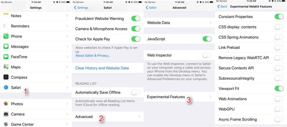 Enable iOS 12/11 Safari Experimental Features on iPhone/iPad