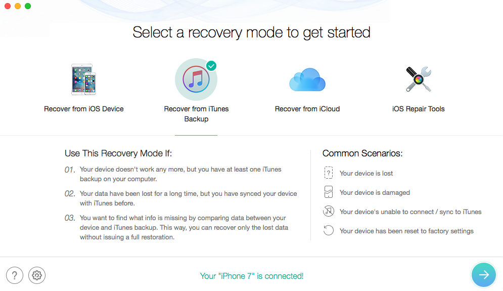 Extract Deleted Photos from iPhone Backup with PhoneRescue - Step 1
